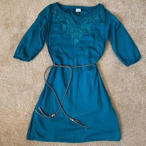 Green Embroidered Dress w/ braided brown/tan belt